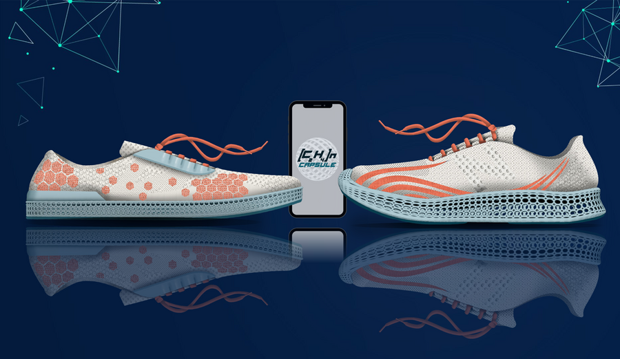 Illustration of two white sneakers with peach-colored patterned embroidery, with a cellphone in the middle