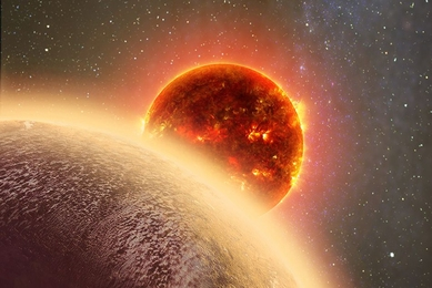 In this artist's rendering of GJ 1132b, a rocky exoplanet very similar to Earth in size and mass, circles a red dwarf star. GJ 1132b is relatively cool (about 450 degrees F) and could potentially host an atmosphere. At a distance of only 39 light-years, it will be a prime target for additional study with Hubble and future observatories like the Giant Magellan Telescope.