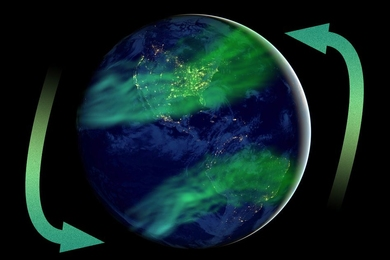 Artistic impression of latitudinally more widespread aurora as an expected consequence of geomagnetic field strength much lower than today's.