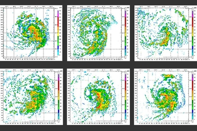 Stills from the Weather Research and Forecasting Model.