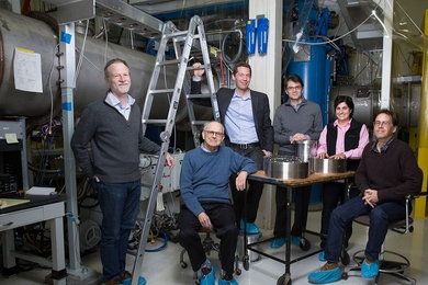 Left to right: David Shoemaker, Rainer Weiss, Matthew Evans, Erotokritos Katsavounidis, Nergis Mavalvala, and Peter Fritschel.