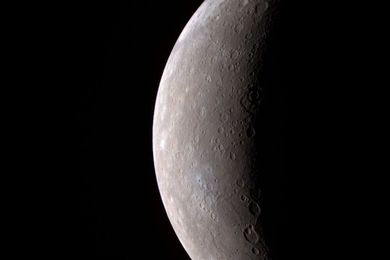 An image, taken by MESSENGER during its Mercury flyby on Jan. 14, 2008, of Mercury's full crescent.