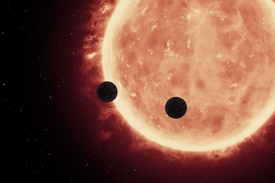 An artist's depiction of planets transiting a red dwarf star in the TRAPPIST-1 System