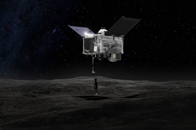This artist's depiction shows the OSIRIS-REx spacecraft contacting the asteroid Bennu with its Touch-And-Go Sample Arm. The mission aims to return a sample of Bennu's surface coating to Earth and to return detailed information about the asteroid and its trajectory.