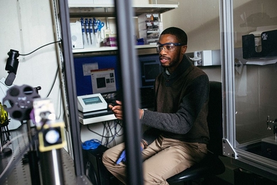 "At MIT graduate student Reginald Avery has been conducting research on a biomaterial that could stop wounded soldiers from dying from shock due to severe blood loss. ""I wanted to do something related to the military because I grew up around that environment,"" he says. ""The people, the uniformed soldiers, and the well-controlled atmosphere created a good environment to grow up in, and I wante..."