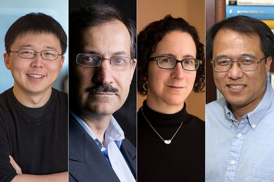 MIT's four new NAS members are (from left): Feng Zhang, Mehran Kardar, Amy Finkelstein, and Xiao-Gang Wen.
