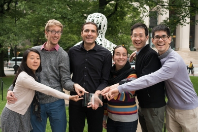 MIT European Club Board members celebrate with their prize. Left to right: treasurer Karine Ip Kiun Chong, Michel Nasilowski, president Giulio Alighieri, vice president Susanna Bächle, social chair Xiaoyu Wu, and events co-chair Saviz Mowlavi.