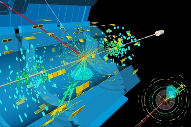 A candidate event display for the production of a Higgs boson decaying to two b-quarks (blue cones), in association with a W boson decaying to a muon (red) and a neutrino. The neutrino leaves the detector unseen, and is reconstructed through the missing transverse energy (dashed line).