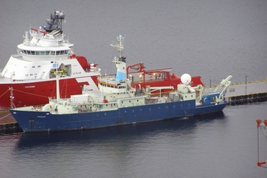 The RV Knorr, in Norway's Alesund harbor in February 2014, as the crew prepares to begin its Nordic Seas Experiment.