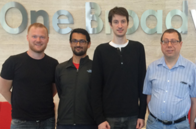 Three co-creators of the MIT-incubated Julia programming language, (l-r) Stefan Karpinski, Viral Shah, and Jeff Bezanson, will receive the 2019 James H. Wilkinson Prize for Numerical Software. MIT Julia Lab Leader and Professor Alan Edelman is pictured at right.