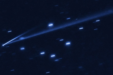 The asteroid 6478 Gault is seen with the NASA/ESA Hubble Space Telescope, showing two narrow, comet-like tails of debris that tell us that the asteroid is slowly undergoing self-destruction. The bright streaks surrounding the asteroid are background stars. The Gault asteroid is located between the orbits of Mars and Jupiter.