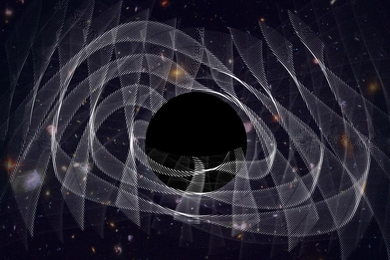"MIT scientists have captured the ""ringing"" of a newly-formed black hole, in the form of gravitational waves, depicted in this artist's illustration."