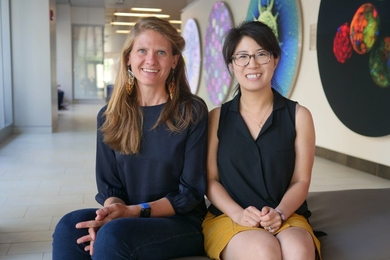Seychelle Vos (left) and Pulin Li recently joined the Department of Biology as assistant professors.