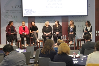 A 2018 Future Strategy Forum panel featured (l-r) Beverly Kirk, Captain Asha Castleberry, Shamila Chaudhary, Janne Nolan, Sara Plana, Rachel Tecott, and Tamara Cofman Wittes. This year's forum, The Future of Cooperation and Conflict in the Time of Covid-19, will be held virtually in June.