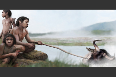 depiction of early human cooking near hot spring