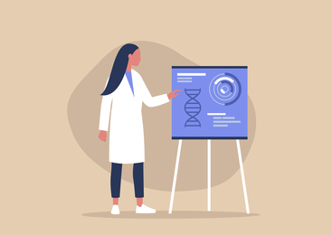 Illustration of a woman in a lab coat giving a presentation next to a poster featuring DNA