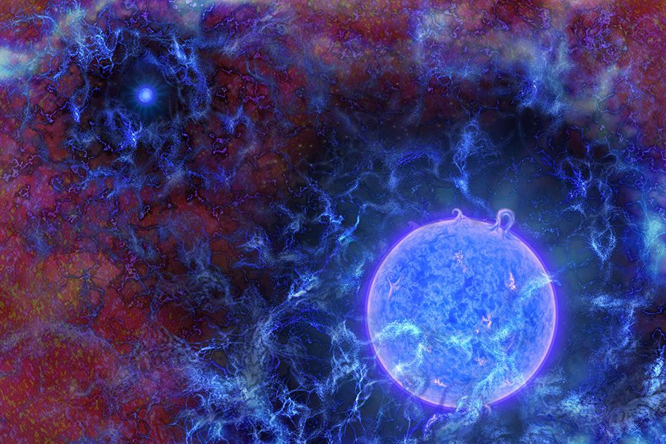 Artist's rendering of the universe's first, massive, blue stars in gaseous filaments, with the cosmic microwave background (CMB) at the edges. Using radio observations of the distant universe, NSF-funded researchers Judd Bowman of Arizona State University, Alan Rogers of MIT, and others discovered the influence of such early stars on primordial gas. The team inferred the stars' presence from dimming of the CMB, a result of the gaseous filaments absorbing the stars' UV light. The CMB is dimmer than expected, indicating the filaments may have been colder than expected, possibly from interactions with dark matter.