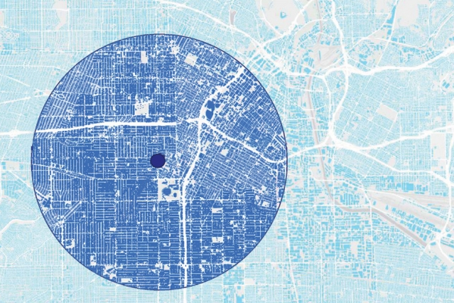 A new study found that cities with an orderly pattern, like the street grid seen in most of this map, have a much greater urban heat island effect than those with a more disorderly pattern, such as areas in the upper right.